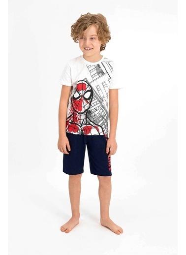Spider-Man Spider Man Lisanslı Bejmelanj Erkek Çocuk Bermuda Takım Krem